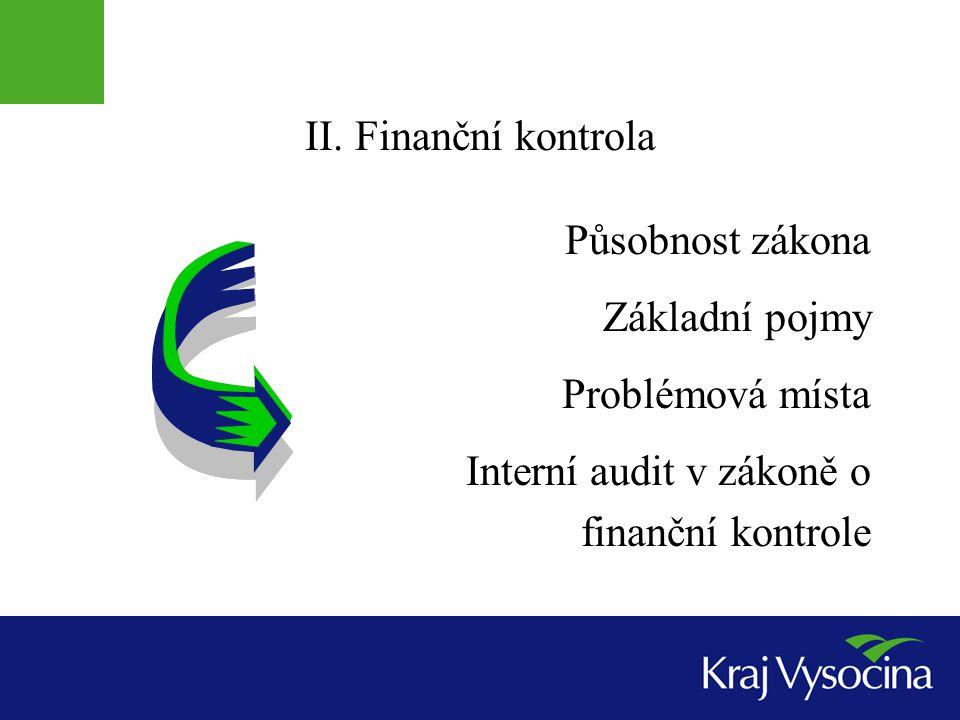 II. Finanční kontrola Působnost zákona Základní pojmy Problémová místa Interní audit v zákoně o finanční kontrole