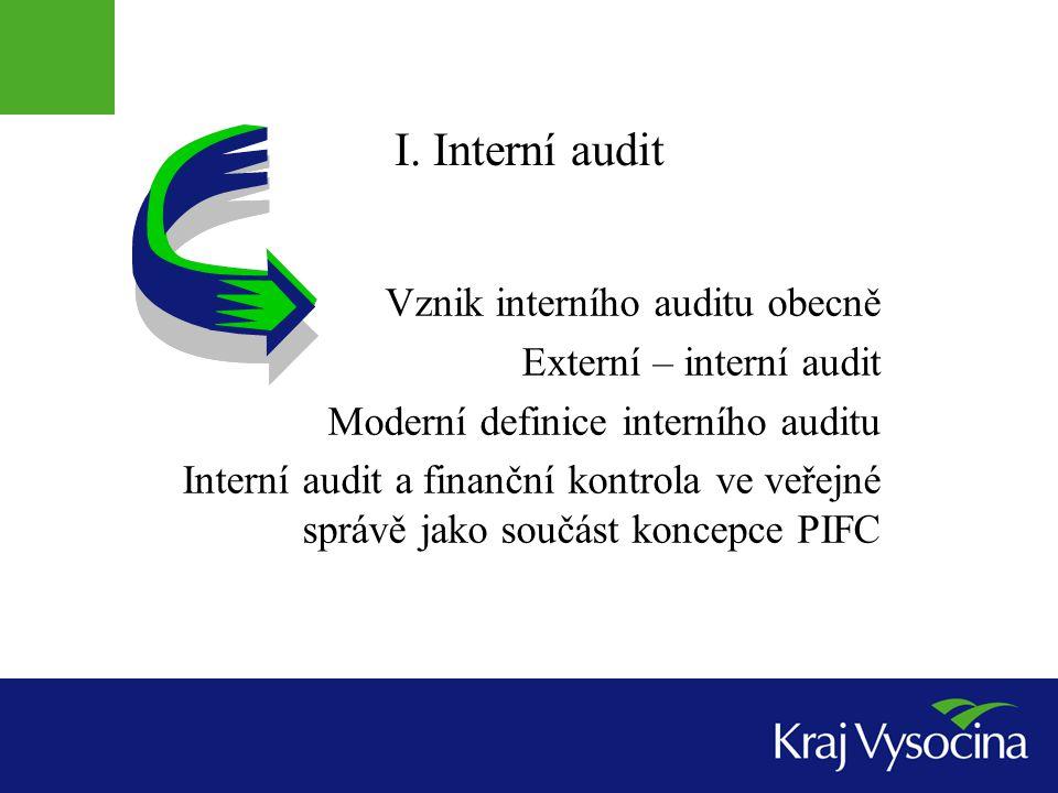 I. Interní audit Vznik interního auditu obecně Externí – interní audit Moderní definice interního auditu Interní audit a finanční kontrola ve veřejné