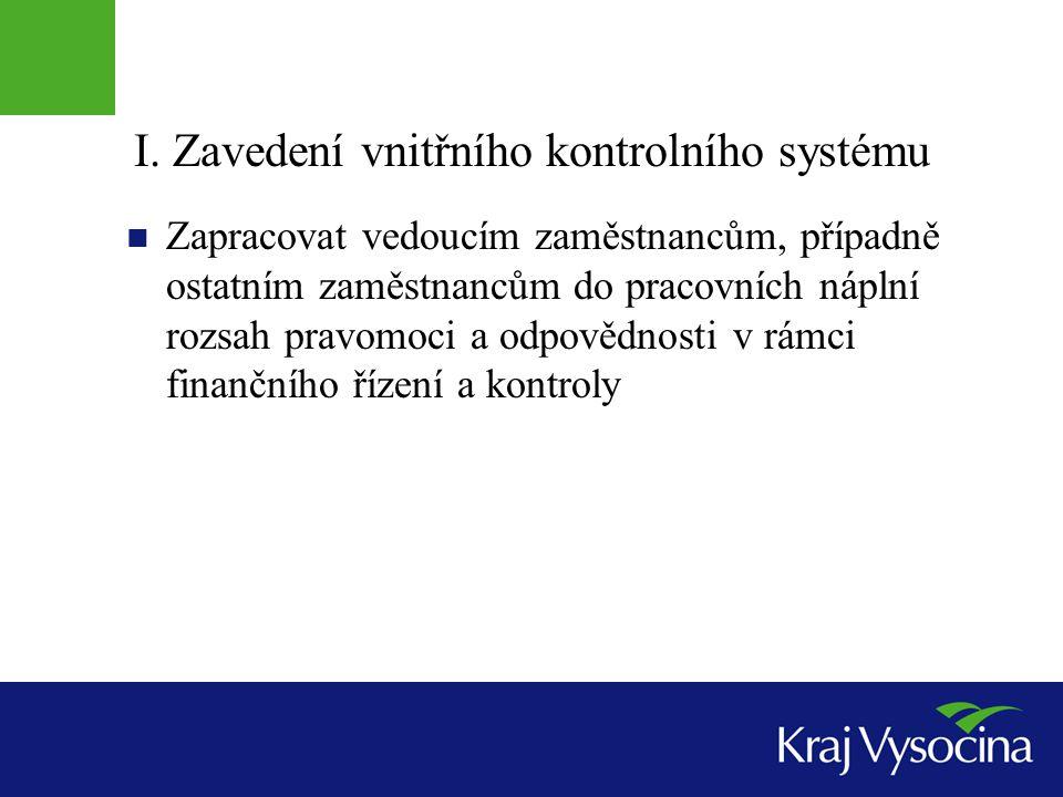 I. Zavedení vnitřního kontrolního systému Zapracovat vedoucím zaměstnancům, případně ostatním zaměstnancům do pracovních náplní rozsah pravomoci a odp