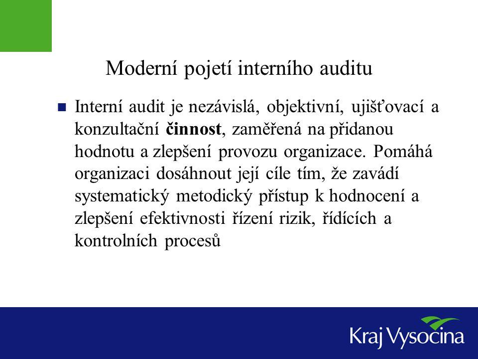 Interní audit podle zákona § 28 až 31 podávání zpráv: o svých zjištěních z provedených auditů s doporučením k přijetí opatření k nápravě, k předcházení nebo zmírnění rizik, ke zdokonalování kvality vnitřního kontrolního systému roční zprávu o činnosti interního auditu se zhodnocením úrovně vnitřního kontrolního systému
