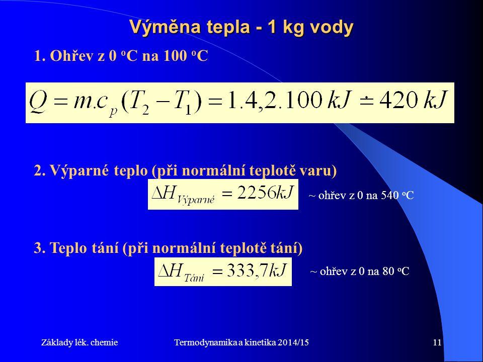 Termodynamika a kinetika 2014/1511 Výměna tepla - 1 kg vody 1.