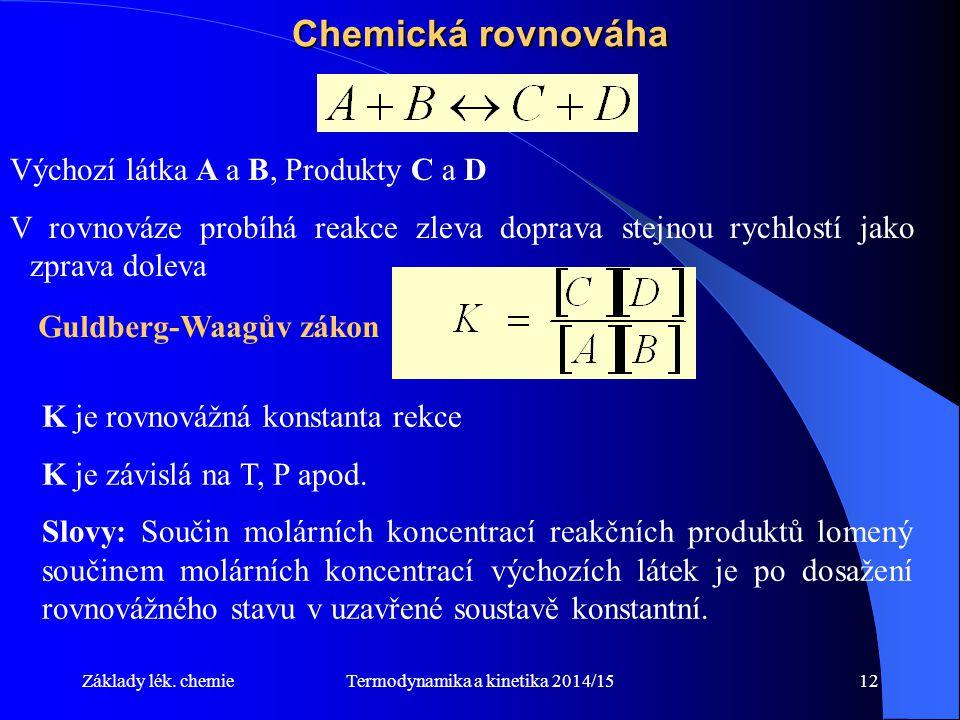 Termodynamika a kinetika 2014/1512 Chemická rovnováha Výchozí látka A a B, Produkty C a D V rovnováze probíhá reakce zleva doprava stejnou rychlostí jako zprava doleva Guldberg-Waagův zákon K je rovnovážná konstanta rekce K je závislá na T, P apod.