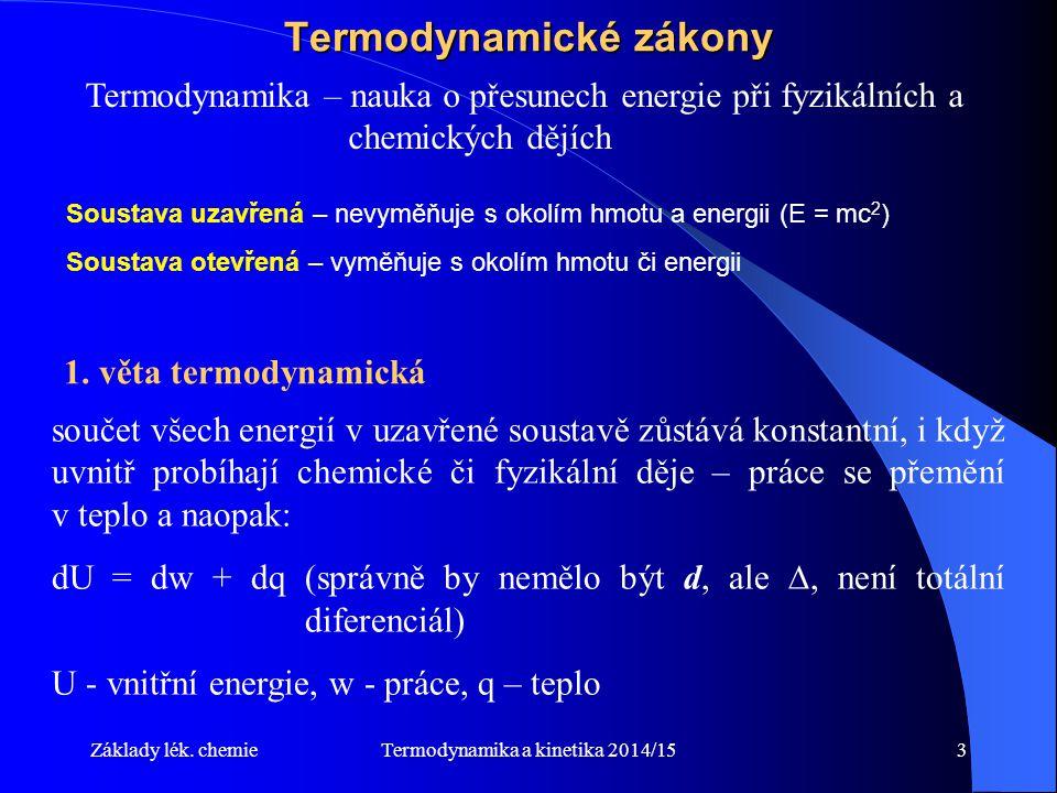 Termodynamika a kinetika 2014/1514 Možnost ovlivnění rovnovážného stavu 1.Odebírání produktů 2.Přidávání výchozích látek 3.Při nestejném počtu molů výchozích látek a produktů v plynné fázi (2A + B = C) změna tlaku 4.Změna teploty (Exotermické – rychlost klesá s teplotou; Endotermické – rychlost roste s teplotou) Všechny reakce v živých soustavách probíhají v takových otevřených systémech, které na sebe navazují, následná reakce odebírá produkty předcházející reakci, čímž porušuje její rovnovážný stav a způsobuje průběh v potřebném směru.