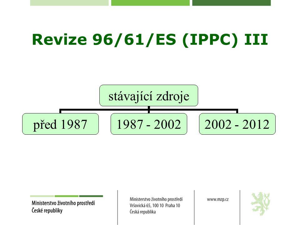 Revize 96/61/ES (IPPC) III stávající zdroje před 1987 1987 - 2002 2002 - 2012