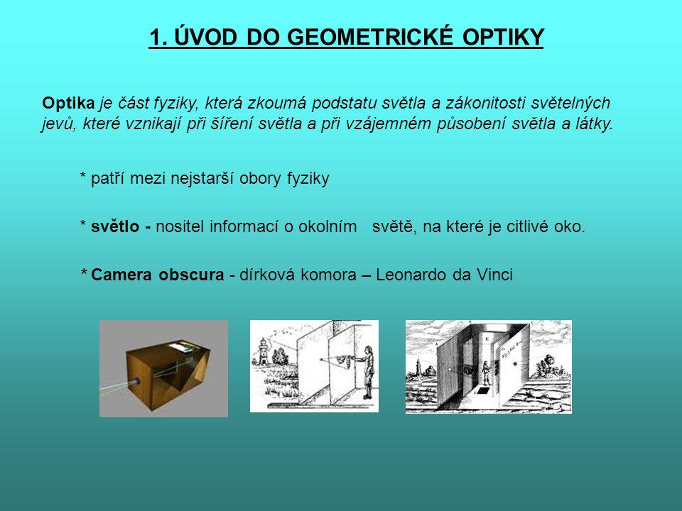 1. ÚVOD DO GEOMETRICKÉ OPTIKY Optika je část fyziky, která zkoumá podstatu světla a zákonitosti světelných jevů, které vznikají při šíření světla a př