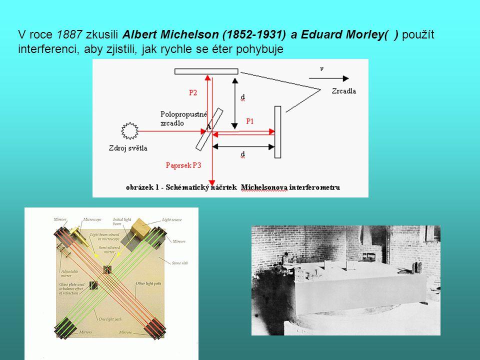 V roce 1887 zkusili Albert Michelson (1852-1931) a Eduard Morley( ) použít interferenci, aby zjistili, jak rychle se éter pohybuje