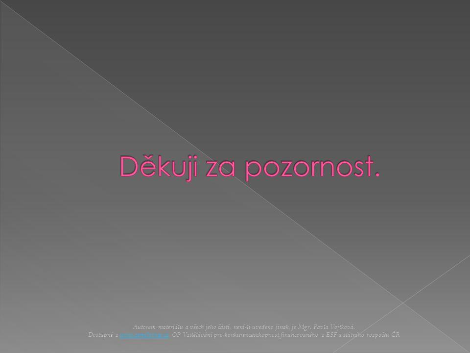Autorem materiálu a všech jeho částí, není-li uvedeno jinak, je Mgr. Pavla Vojtková. Dostupné z www.zsmilovice.cz OP Vzdělávání pro konkurenceschopnos