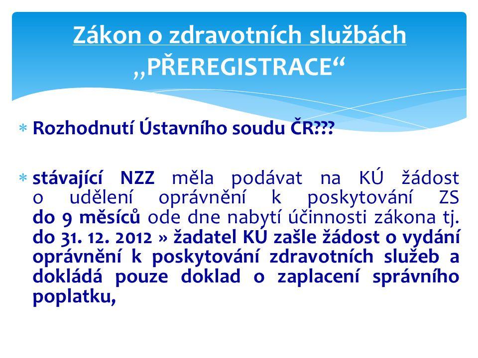"""Zákon o zdravotních službách """"PŘEREGISTRACE  Rozhodnutí Ústavního soudu ČR??."""