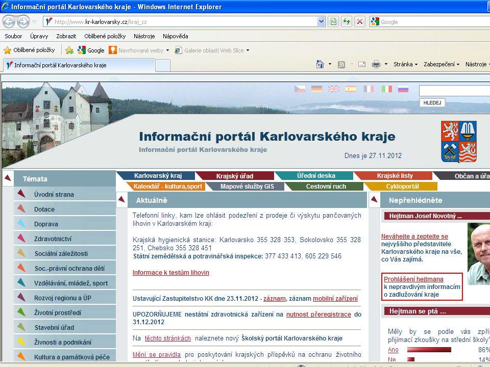 Webové stránky Karlovarského kraje www.kr-karlovarsky.cz www.kr-karlovarsky.cz