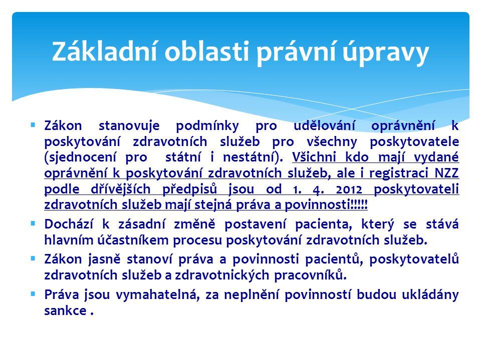  Zákon stanovuje podmínky pro udělování oprávnění k poskytování zdravotních služeb pro všechny poskytovatele (sjednocení pro státní i nestátní).