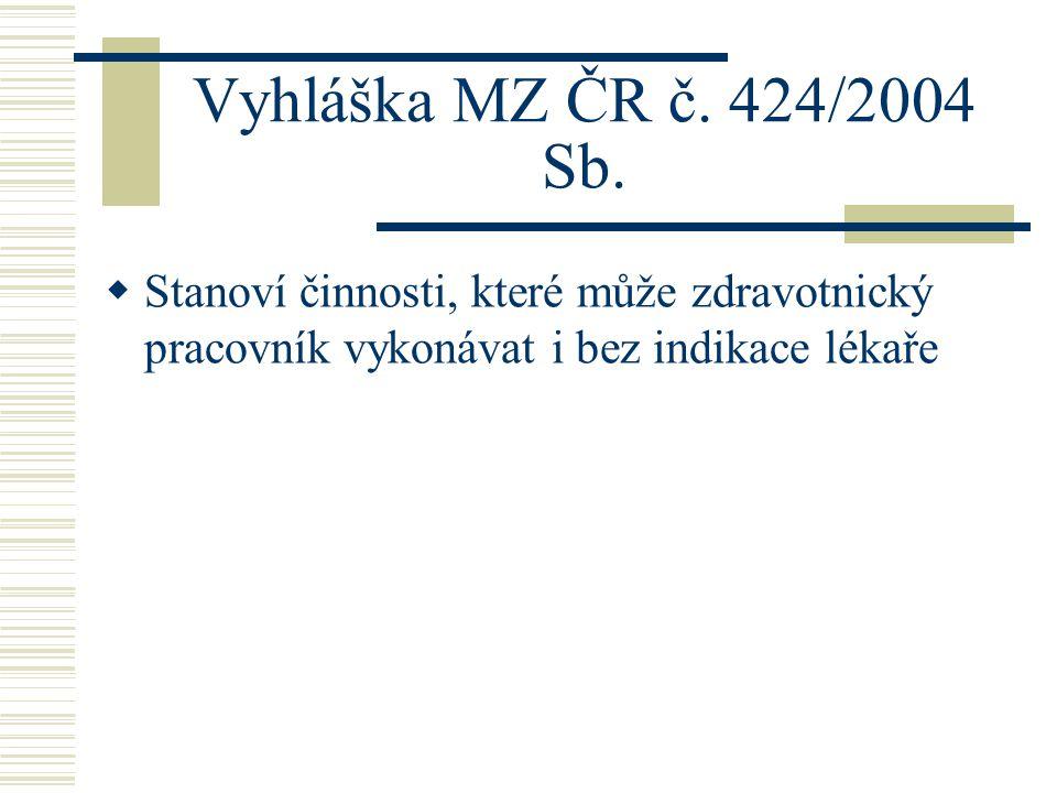 Vyhláška MZ ČR č.424/2004 Sb.