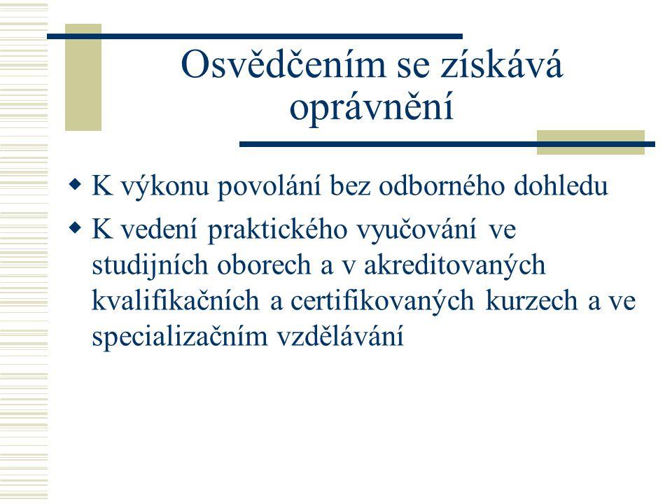 Osvědčením se získává oprávnění  K výkonu povolání bez odborného dohledu  K vedení praktického vyučování ve studijních oborech a v akreditovaných kvalifikačních a certifikovaných kurzech a ve specializačním vzdělávání