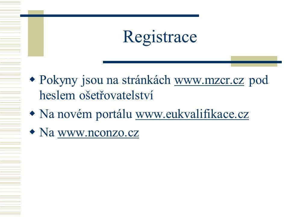 Registrace  Pokyny jsou na stránkách www.mzcr.cz pod heslem ošetřovatelstvíwww.mzcr.cz  Na novém portálu www.eukvalifikace.czwww.eukvalifikace.cz  Na www.nconzo.czwww.nconzo.cz