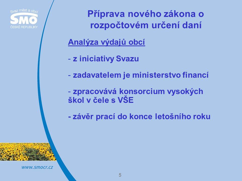 5 Příprava nového zákona o rozpočtovém určení daní Analýza výdajů obcí - z iniciativy Svazu - zadavatelem je ministerstvo financí - zpracovává konsorcium vysokých škol v čele s VŠE - závěr prací do konce letošního roku