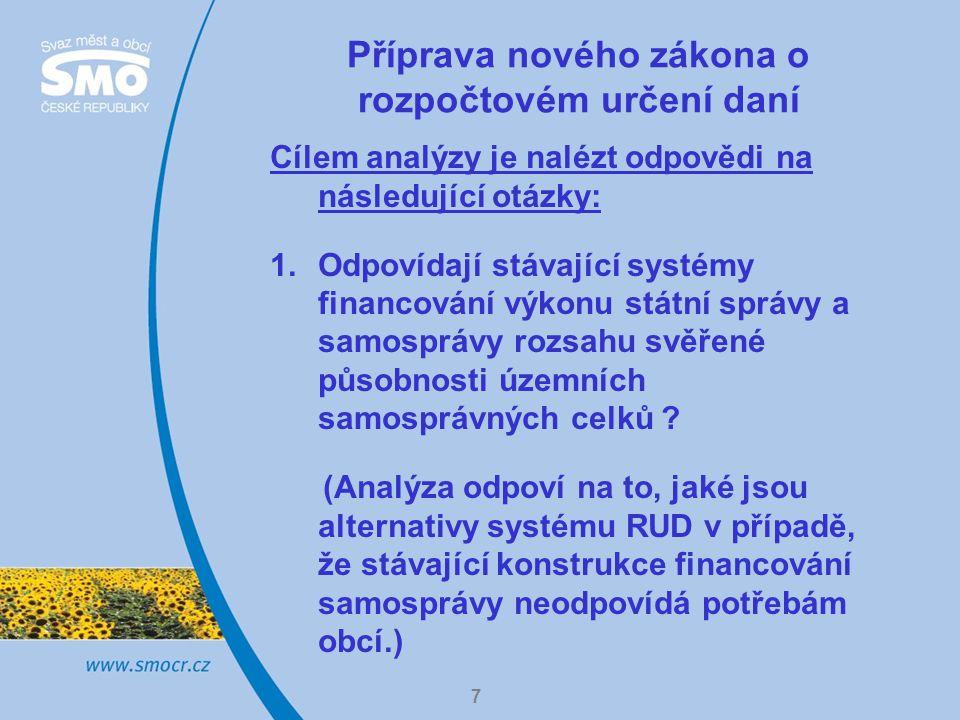 7 Příprava nového zákona o rozpočtovém určení daní Cílem analýzy je nalézt odpovědi na následující otázky: 1.Odpovídají stávající systémy financování výkonu státní správy a samosprávy rozsahu svěřené působnosti územních samosprávných celků .