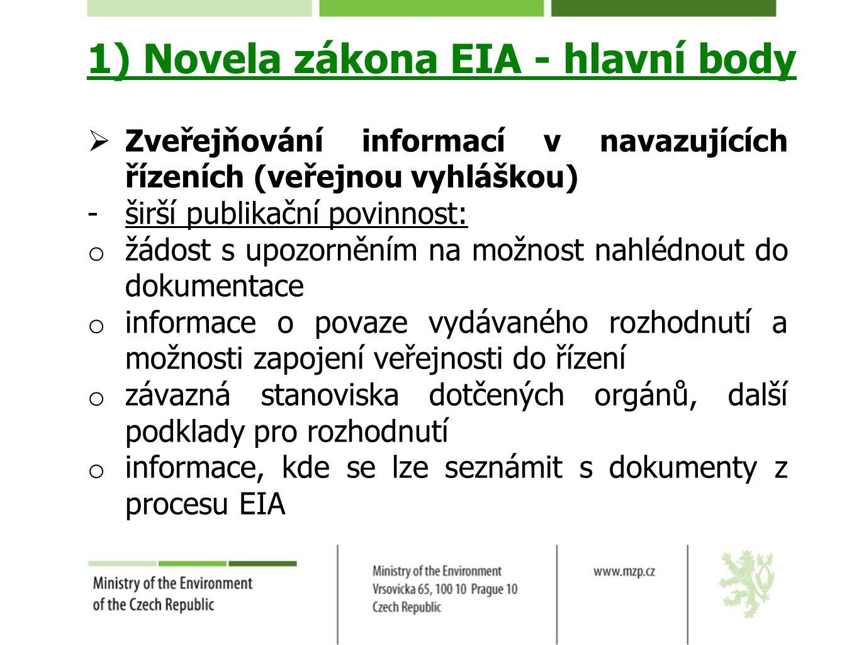 1) Novela zákona EIA - hlavní body  Zveřejňování informací v navazujících řízeních (veřejnou vyhláškou) -širší publikační povinnost: o žádost s upozo
