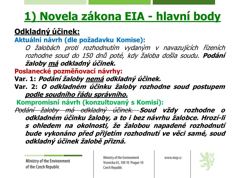 1) Novela zákona EIA - hlavní body Odkladný účinek: Aktuální návrh (dle požadavku Komise): O žalobách proti rozhodnutím vydaným v navazujících řízeníc