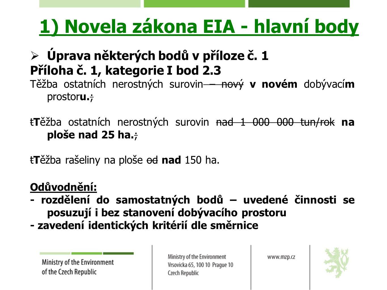 1) Novela zákona EIA - hlavní body  Úprava některých bodů v příloze č. 1 Příloha č. 1, kategorie I bod 2.3 Těžba ostatních nerostných surovin – nový