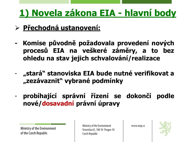 1) Novela zákona EIA - hlavní body  Přechodná ustanovení: - Komise původně požadovala provedení nových procesů EIA na veškeré záměry, a to bez ohledu