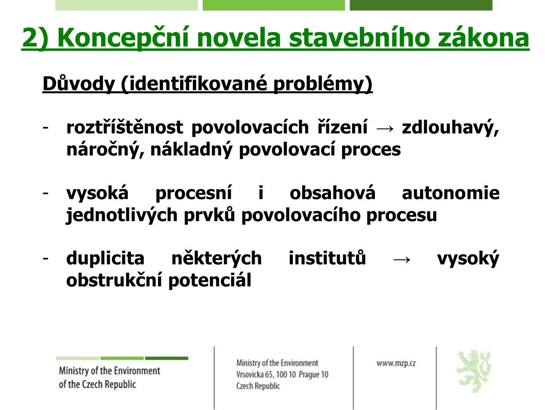 2) Koncepční novela stavebního zákona Důvody (identifikované problémy) -roztříštěnost povolovacích řízení → zdlouhavý, náročný, nákladný povolovací pr