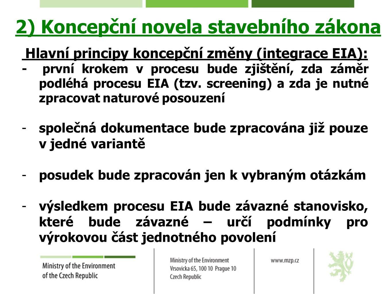 2) Koncepční novela stavebního zákona Hlavní principy koncepční změny (integrace EIA): - první krokem v procesu bude zjištění, zda záměr podléhá proce