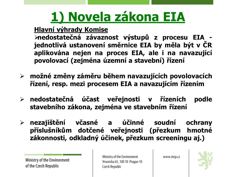 1) Novela zákona EIA Hlavní výhrady Komise  nedostatečná závaznost výstupů z procesu EIA - jednotlivá ustanovení směrnice EIA by měla být v ČR apliko