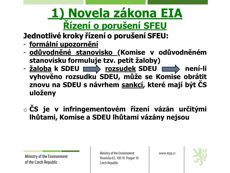 1) Novela zákona EIA Řízení o porušení SFEU Jednotlivé kroky řízení o porušení SFEU: -formální upozornění -odůvodněné stanovisko (Komise v odůvodněném