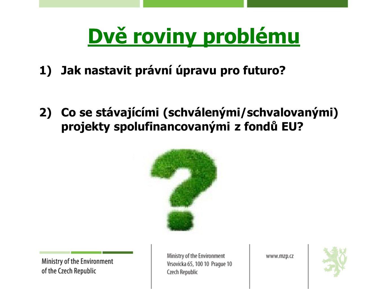Dvě roviny problému 1)Jak nastavit právní úpravu pro futuro? 2)Co se stávajícími (schválenými/schvalovanými) projekty spolufinancovanými z fondů EU?