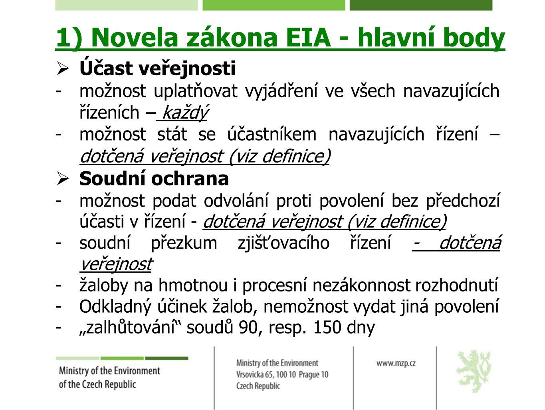 1) Novela zákona EIA - hlavní body  Účast veřejnosti -možnost uplatňovat vyjádření ve všech navazujících řízeních – každý -možnost stát se účastníkem