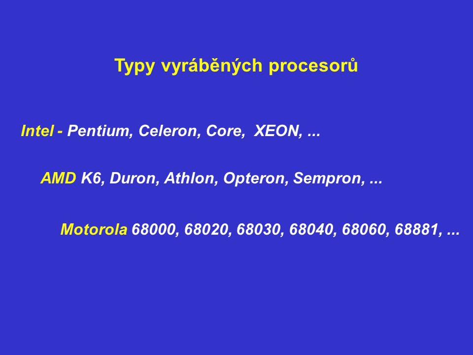 Typy vyráběných procesorů Intel - Pentium, Celeron, Core, XEON,... AMD K6, Duron, Athlon, Opteron, Sempron,... Motorola 68000, 68020, 68030, 68040, 68