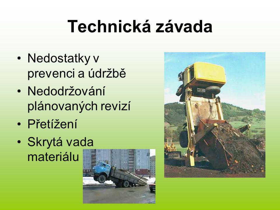 Technická závada Nedostatky v prevenci a údržbě Nedodržování plánovaných revizí Přetížení Skrytá vada materiálu