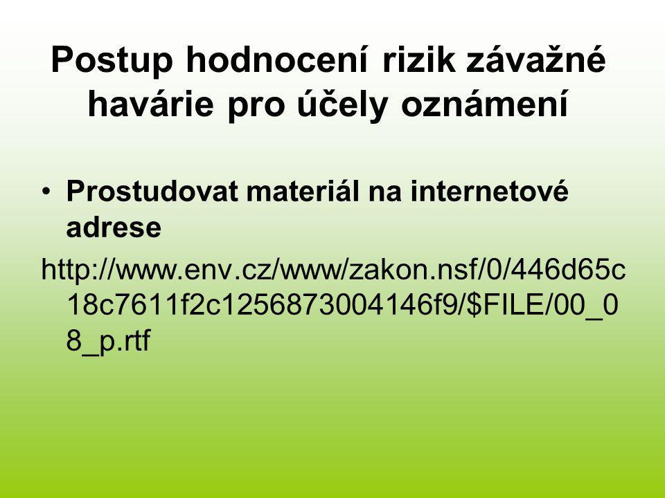 Postup hodnocení rizik závažné havárie pro účely oznámení Prostudovat materiál na internetové adrese http://www.env.cz/www/zakon.nsf/0/446d65c 18c7611