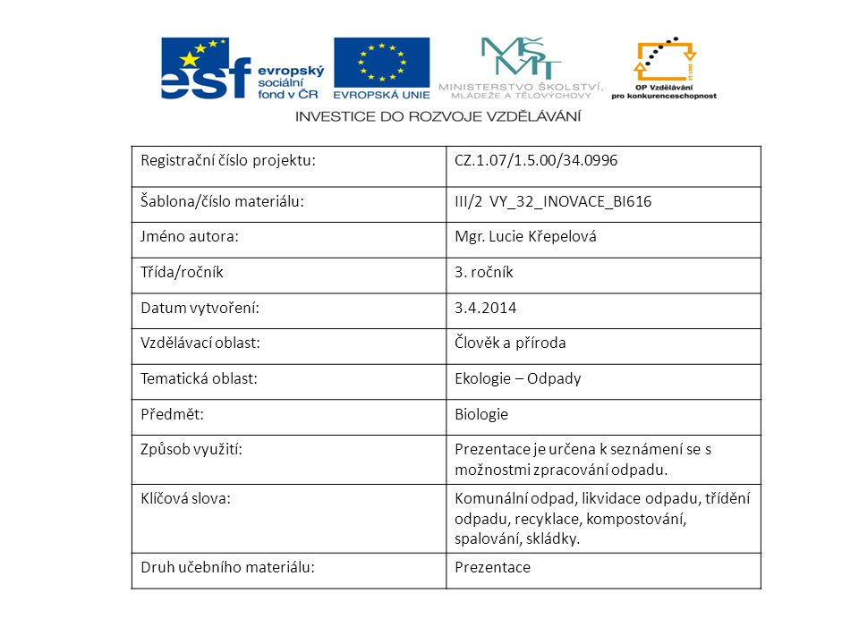 Registrační číslo projektu:CZ.1.07/1.5.00/34.0996 Šablona/číslo materiálu:III/2 VY_32_INOVACE_BI616 Jméno autora:Mgr.