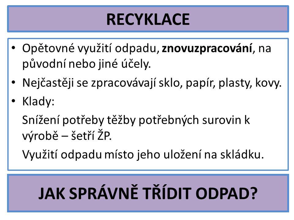 RECYKLACE Opětovné využití odpadu, znovuzpracování, na původní nebo jiné účely.