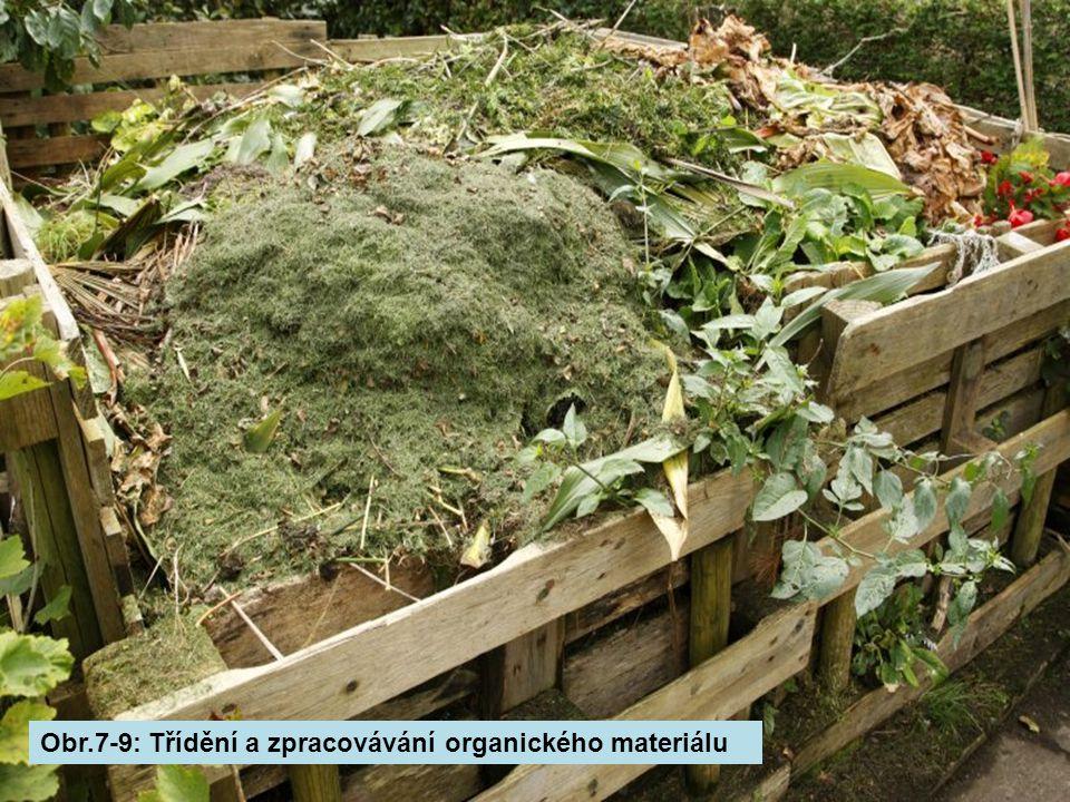 Obr.7-9: Třídění a zpracovávání organického materiálu