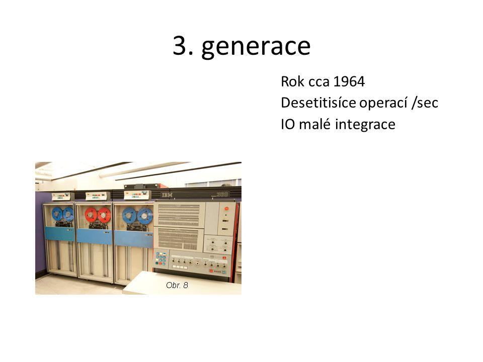 3. generace Rok cca 1964 Desetitisíce operací /sec IO malé integrace