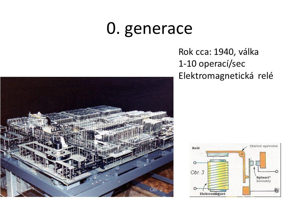 0. generace Rok cca: 1940, válka 1-10 operací/sec Elektromagnetická relé