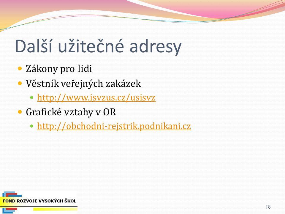 Další užitečné adresy Zákony pro lidi Věstník veřejných zakázek http://www.isvzus.cz/usisvz Grafické vztahy v OR http://obchodni-rejstrik.podnikani.cz