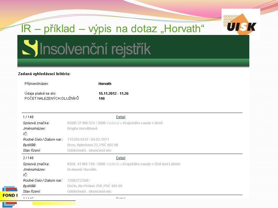 """IR – příklad – výpis na dotaz """"Horvath"""""""
