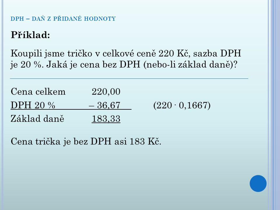 Příklad: Koupili jsme tričko v celkové ceně 220 Kč, sazba DPH je 20 %. Jaká je cena bez DPH (nebo-li základ daně)? Cena celkem220,00 DPH 20 %– 36,67 (
