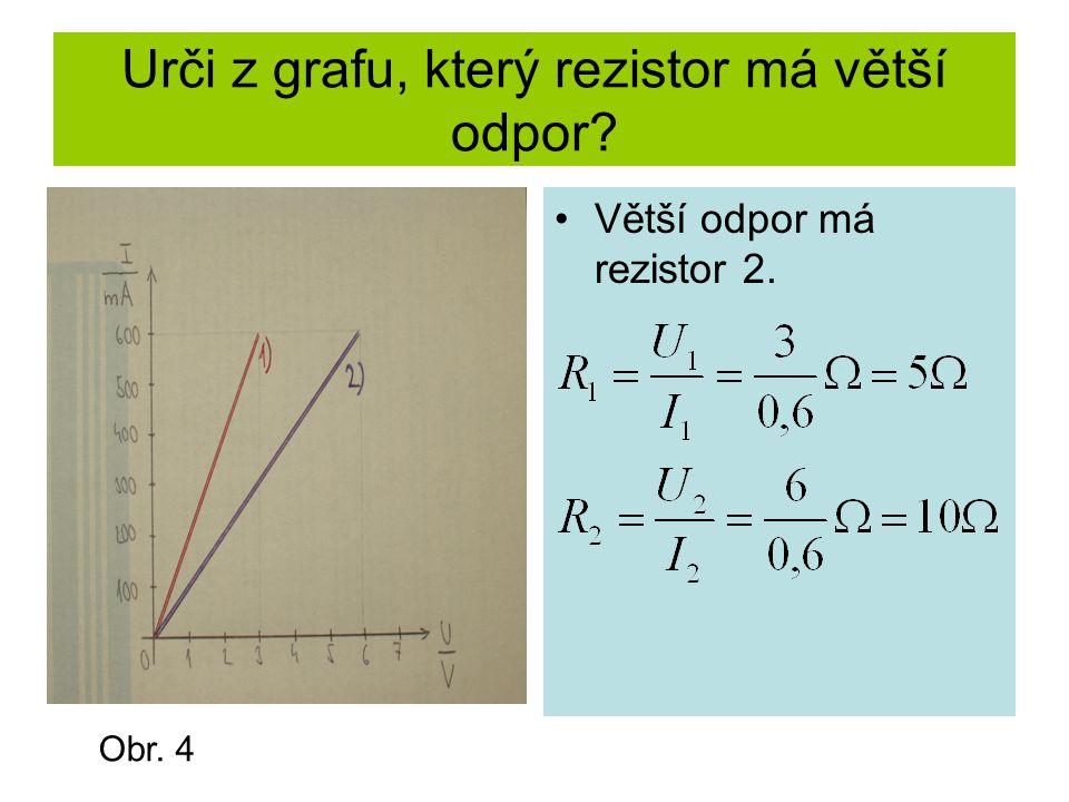 Urči z grafu, který rezistor má větší odpor? Větší odpor má rezistor 2. Obr. 4