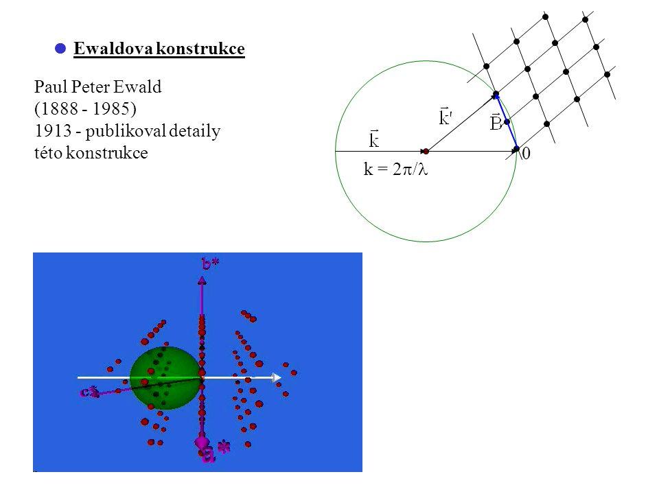  Ewaldova konstrukce Paul Peter Ewald (1888 - 1985) 1913 - publikoval detaily této konstrukce k = 2  / 0