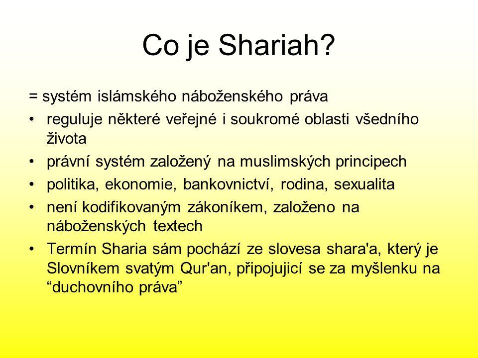 Co je Shariah? = systém islámského náboženského práva reguluje některé veřejné i soukromé oblasti všedního života právní systém založený na muslimskýc