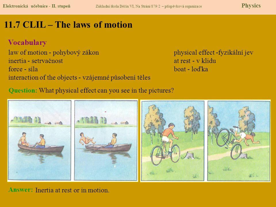11.7 CLIL – The laws of motion Elektronická učebnice - II. stupeň Základní škola Děčín VI, Na Stráni 879/2 – příspěvková organizace Physics Vocabulary