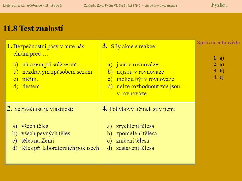 11.8 Test znalostí Správné odpovědi: 1.a) 2.a) 3.b) 4.c) Elektronická učebnice - II. stupeň Základní škola Děčín VI, Na Stráni 879/2 – příspěvková org