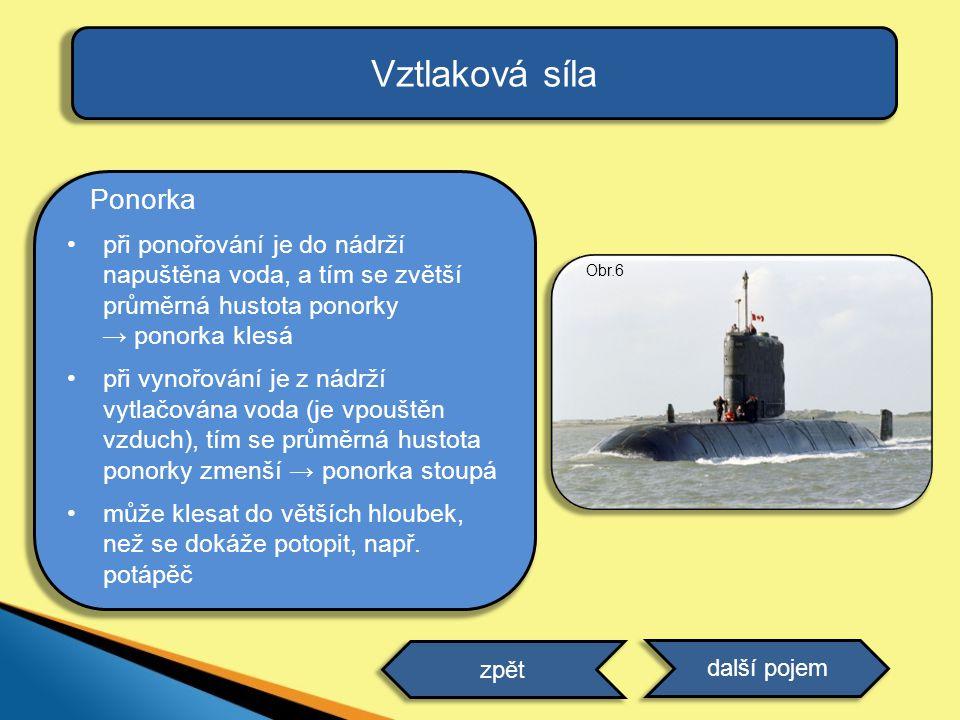 Vztlaková síla Ponorka při ponořování je do nádrží napuštěna voda, a tím se zvětší průměrná hustota ponorky → ponorka klesá při vynořování je z nádrží