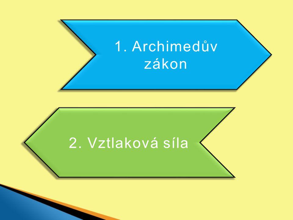 Archimedův zákon Každé těleso ponořené do kapaliny je nadlehčováno silou.