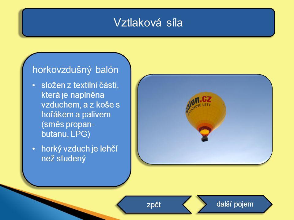 Vztlaková síla horkovzdušný balón složen z textilní části, která je naplněna vzduchem, a z koše s hořákem a palivem (směs propan- butanu, LPG) horký v