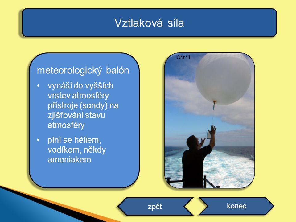 Vztlaková síla meteorologický balón vynáší do vyšších vrstev atmosféry přístroje (sondy) na zjišťování stavu atmosféry plní se héliem, vodíkem, někdy