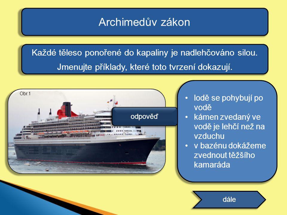 Archimedův zákon Kde vzniká v kapalině síla, která nadlehčuje tělesa.